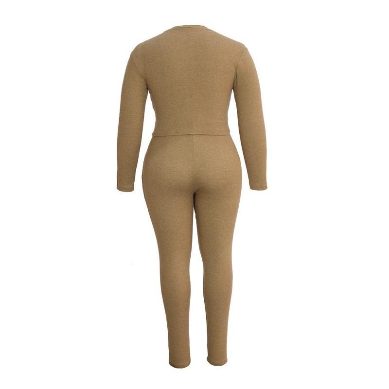 Plus Size Solid-color Slim Two-piece Set - khat back