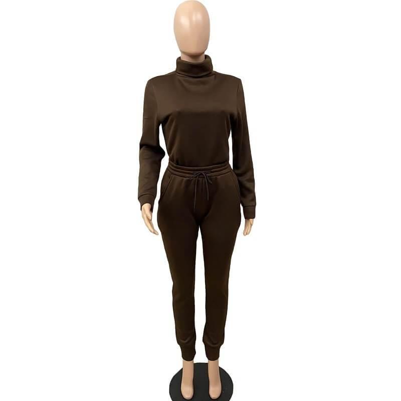 Plus Size Solid Color Casual Suit - coffee positive