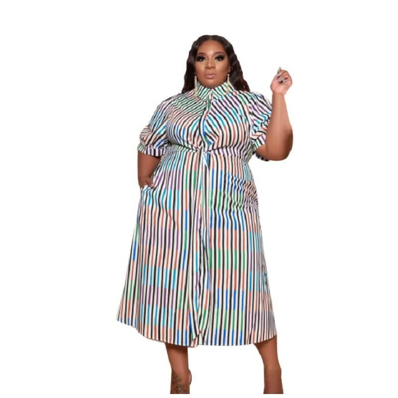 Plus Size African Dresses - color bar color