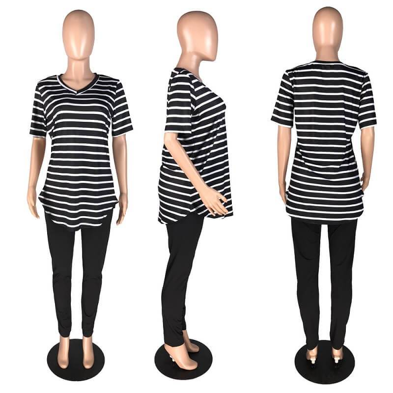 Plus Size Striped Printed Casual Suit - black model picture