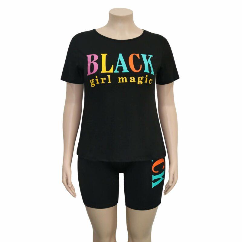 Plus Size Summer Womens 2 Piece Sets - black positive