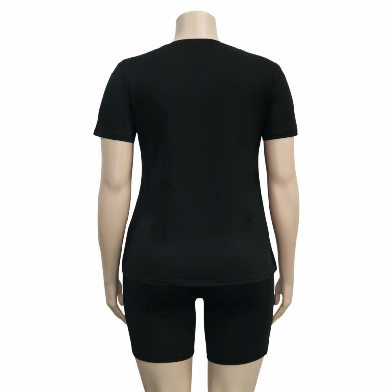Plus Size Summer Womens 2 Piece Sets - black back