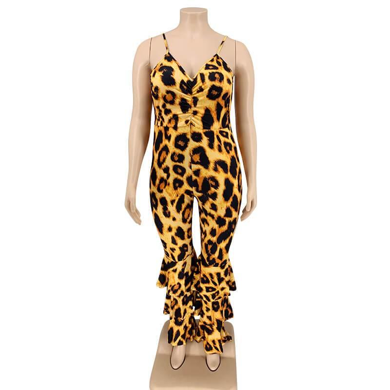 Plus Size Leopard Jumpsuit - leopard print front