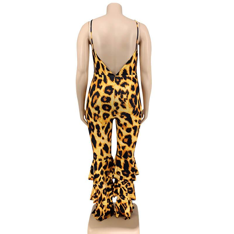Plus Size Leopard Jumpsuit - leopard print behind