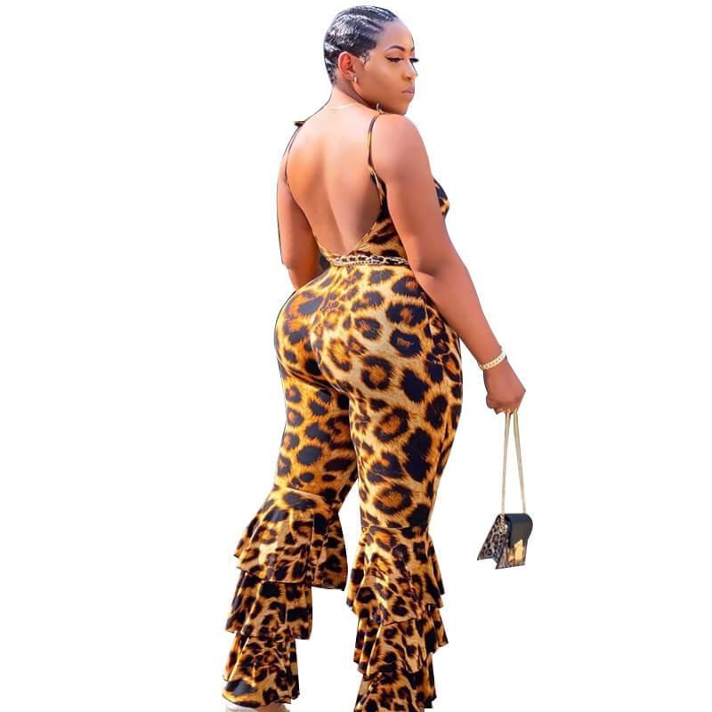 Plus Size Leopard Jumpsuit - leopard print back