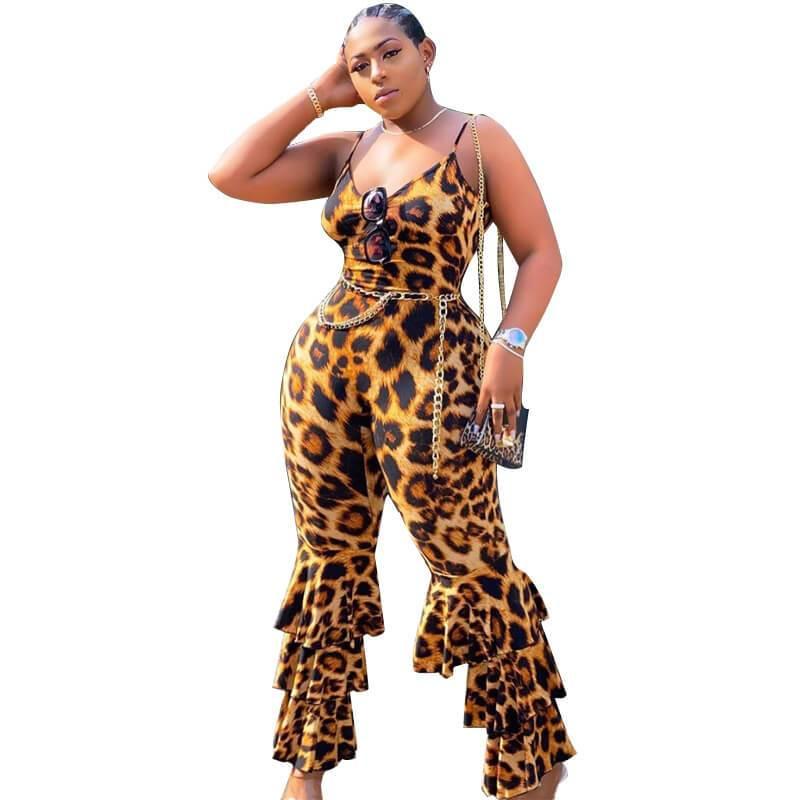 Plus Size Leopard Jumpsuit - leopard print color