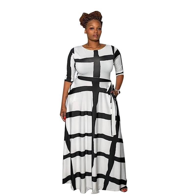 Plus Size Swing Dress - white color