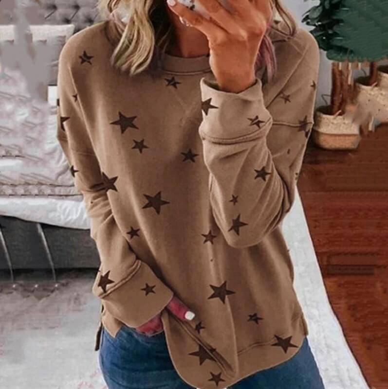 Oversized Star Print T-shirt - khaki color