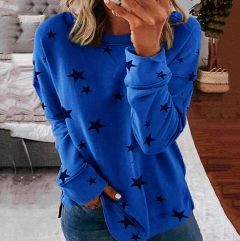 Oversized Star Print T-shirt - royal blue color