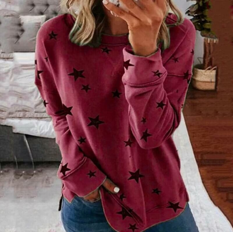 Oversized Star Print T-shirt - wine red color