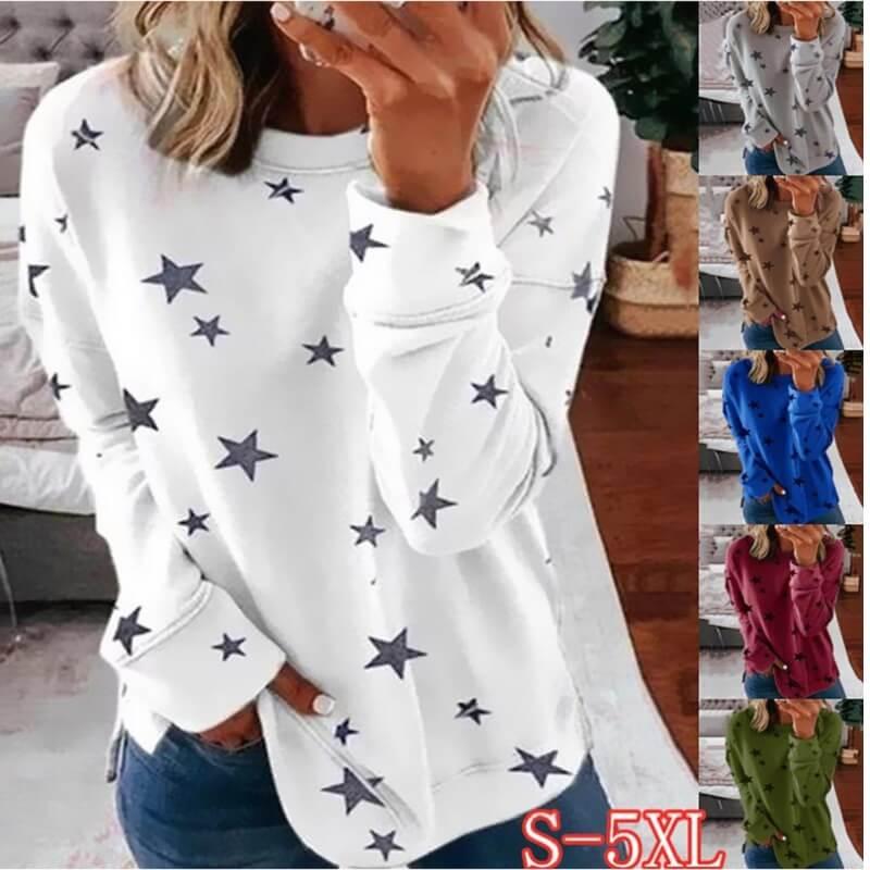 Oversized Star Print T-shirt - white color
