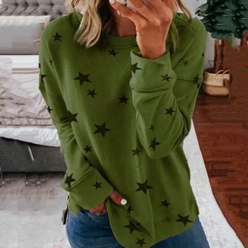 Oversized Star Print T-shirt - green color