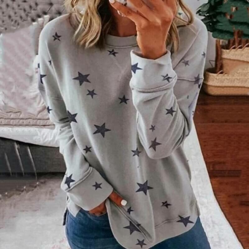 Oversized Star Print T-shirt - gray color