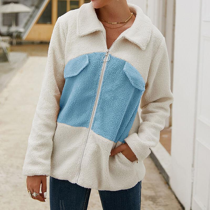 Plus Size Teddy Bear Coat - blue color