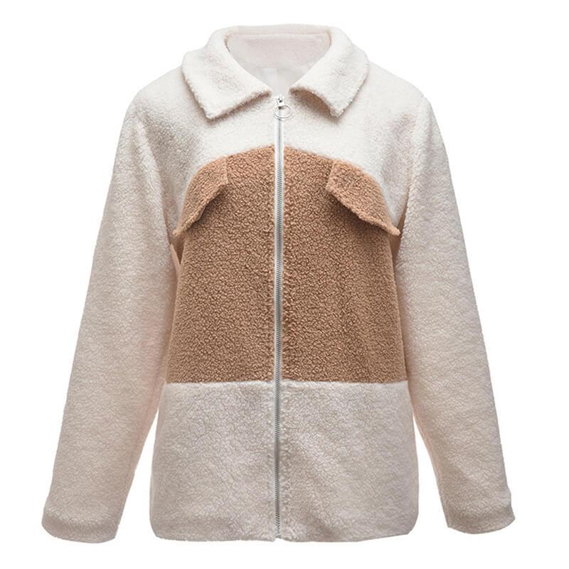 Plus Size Teddy Bear Coat - khaki frond