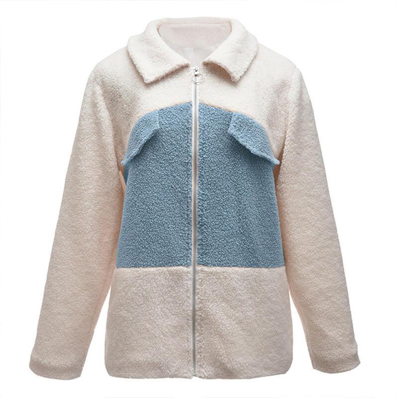 Plus Size Teddy Bear Coat - bule front