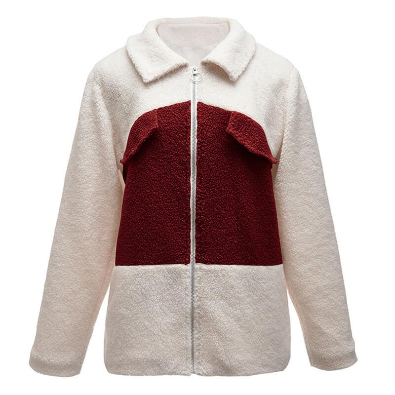 Plus Size Teddy Bear Coat - wine red front