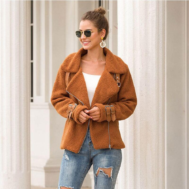 Plus Size Teddy Fur Coat - caramel color
