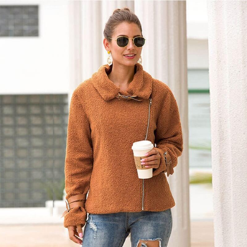 Plus Size Teddy Fur Coat - caramel front