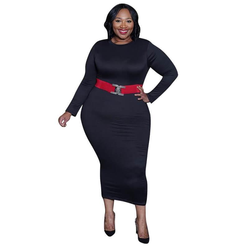 Red plus size Desses - black color