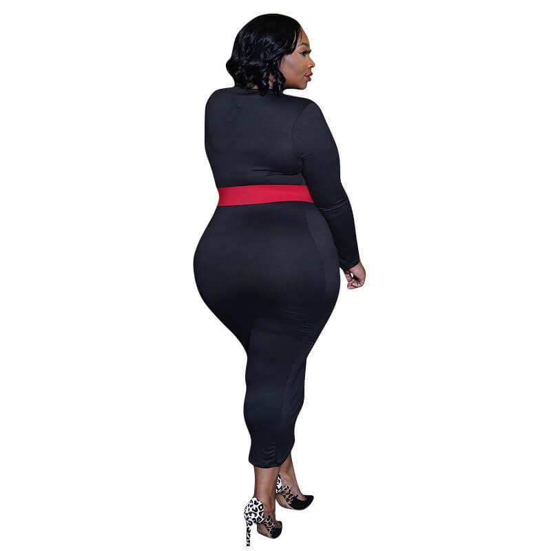 Red plus size Desses - black back