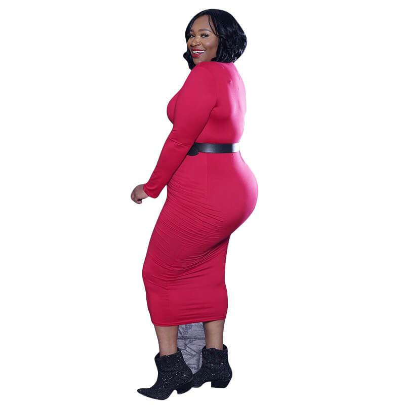 Red plus size Desses - red side