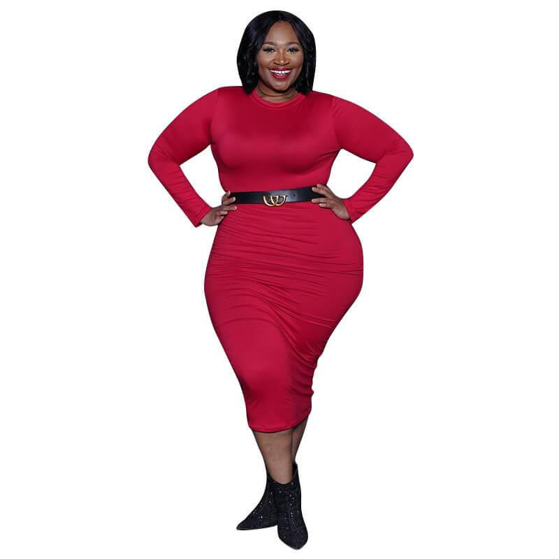 Red plus size Desses - red color