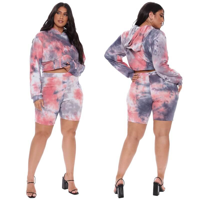 Plus Size Two-piece Hooded Sports - rose color