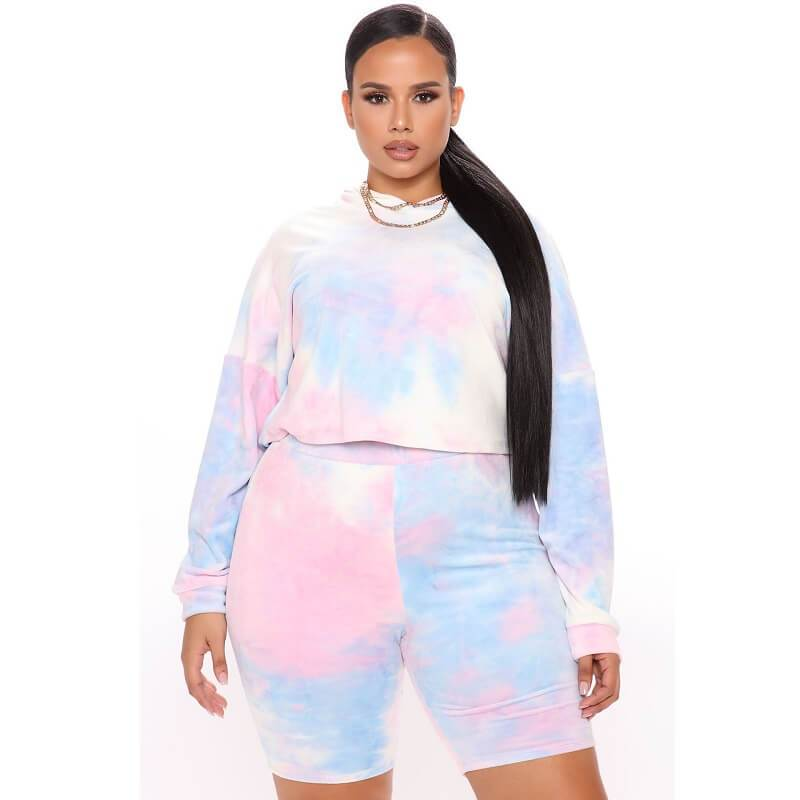 Plus Size Two-piece Hooded Sports - pink positive
