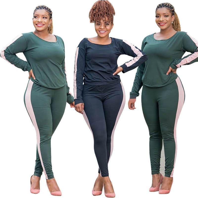 Three Color Plus Size Two Piece Sweatsuit  - two colors
