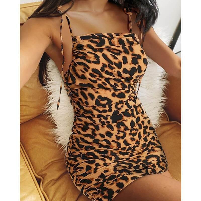 Plus Size V-neck Bag Hip Dress - khaki color