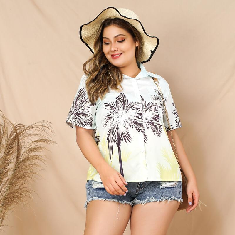 Plus Size White Blouse with Collar - white color