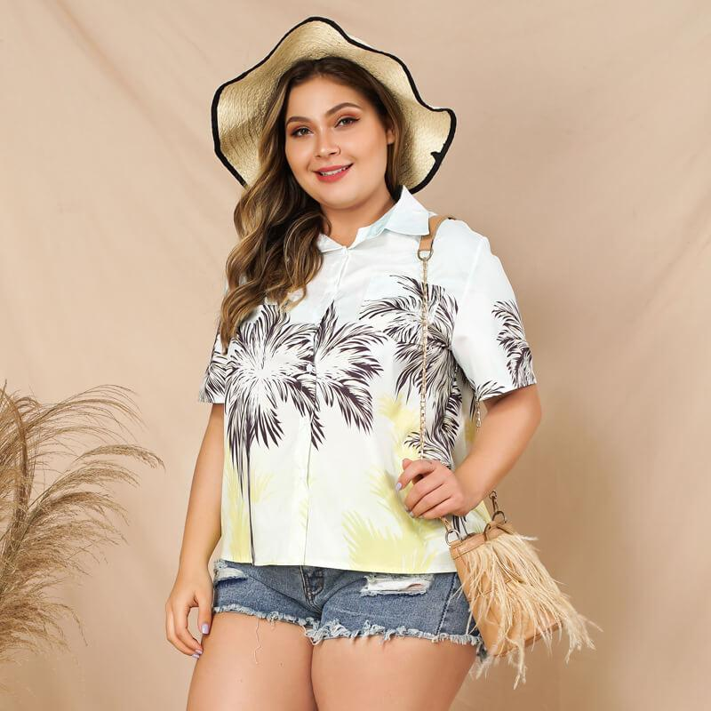 Plus Size White Blouse with Collar - white side