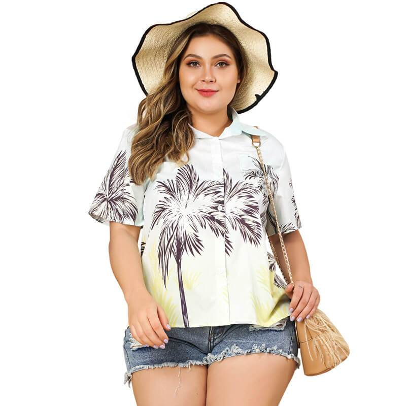 Plus Size White Blouse with Collar - white main picture