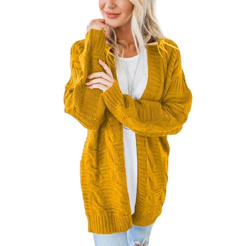 Plus Size White Cardigan Sweater - yellow color