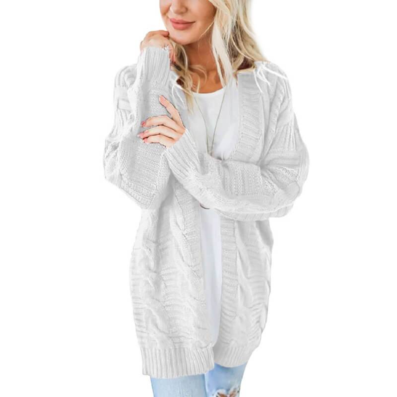 Plus Size White Cardigan Sweater - white color