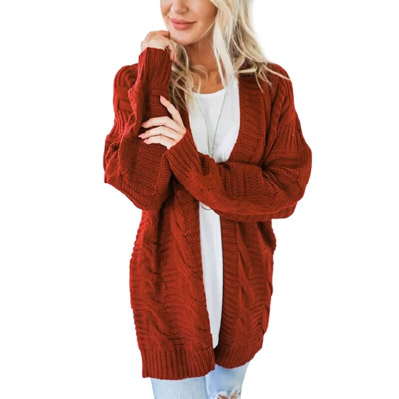 Plus Size White Cardigan Sweater - red color