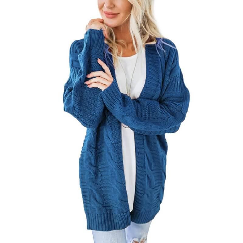 Plus Size White Cardigan Sweater -blue color