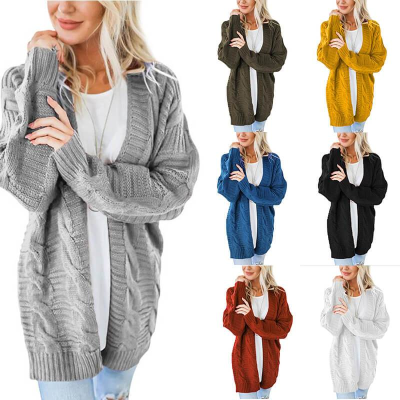 Plus Size White Cardigan Sweater - main picture