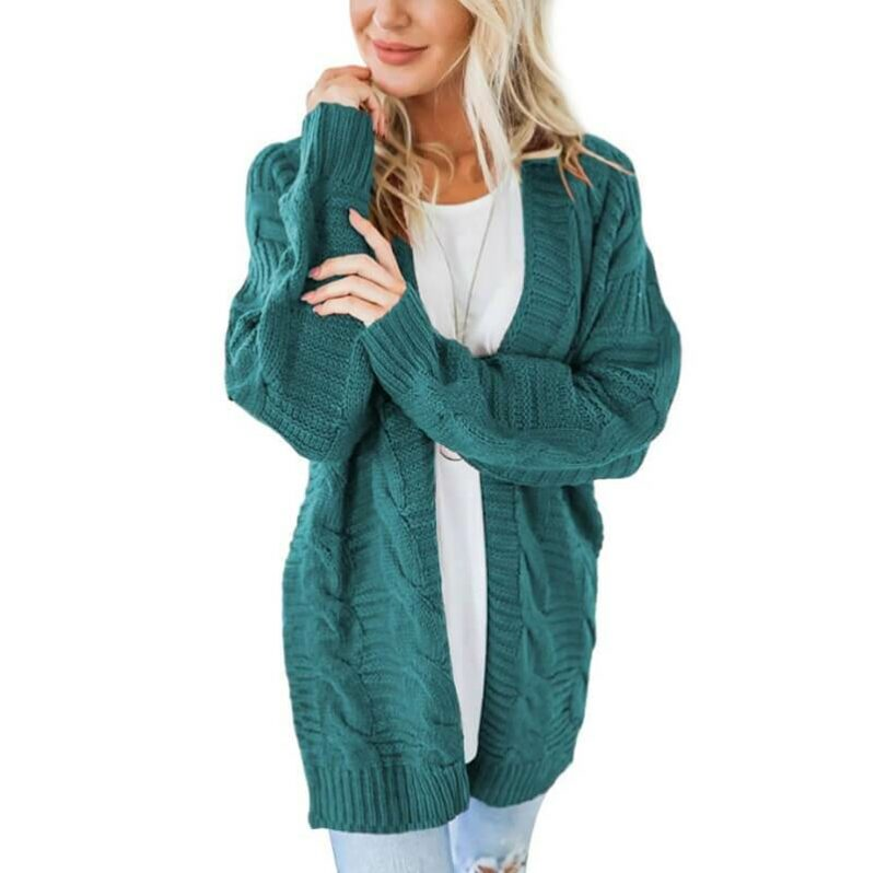 Plus Size White Cardigan Sweater - hole green color
