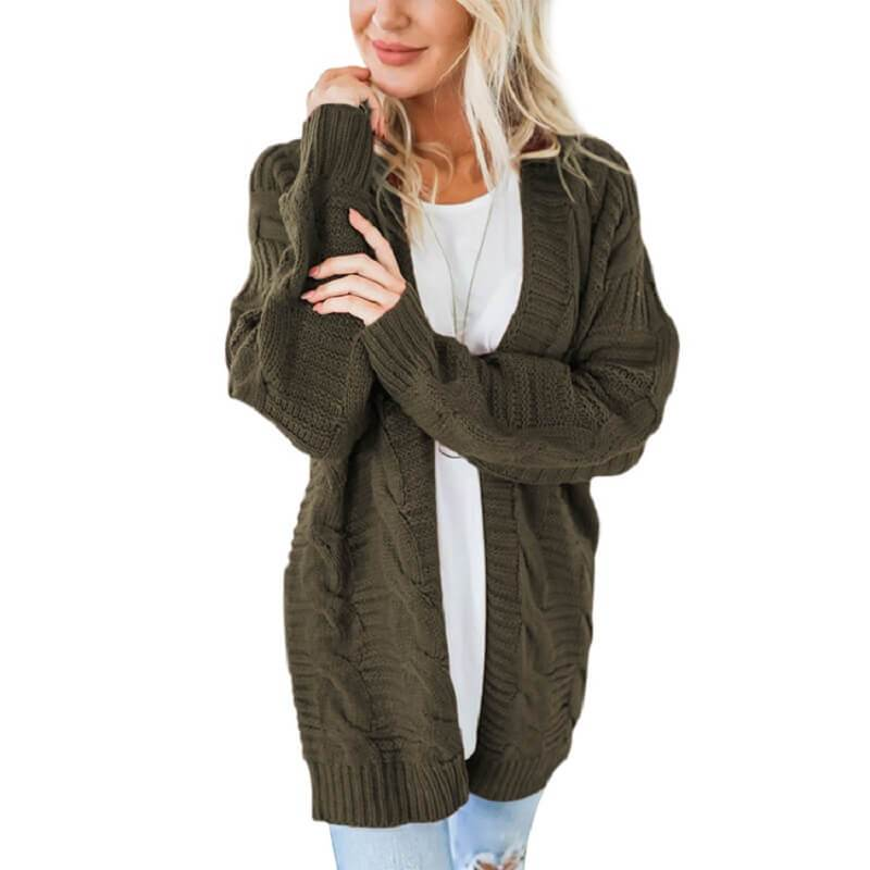 Plus Size White Cardigan Sweater - military green color