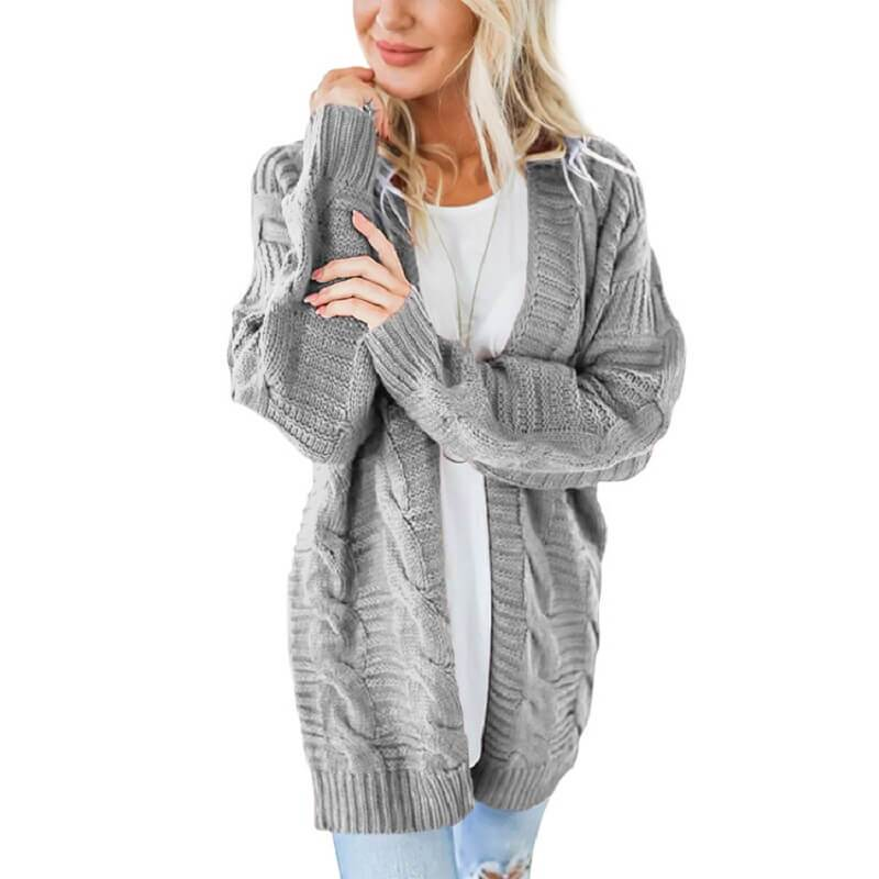 Plus Size White Cardigan Sweater - gray color