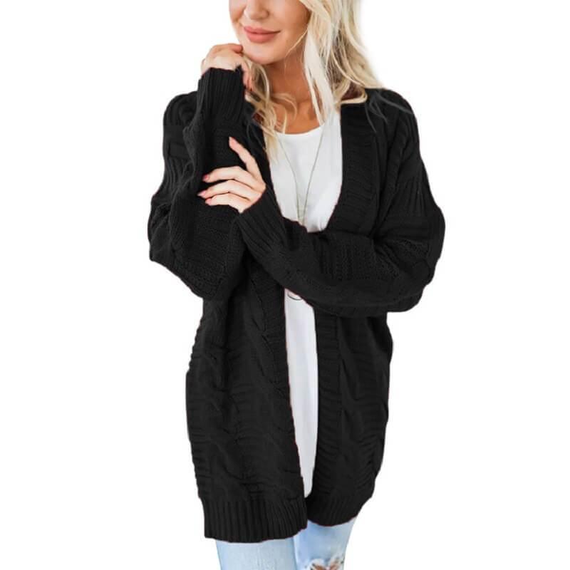 Plus Size White Cardigan Sweater - black color