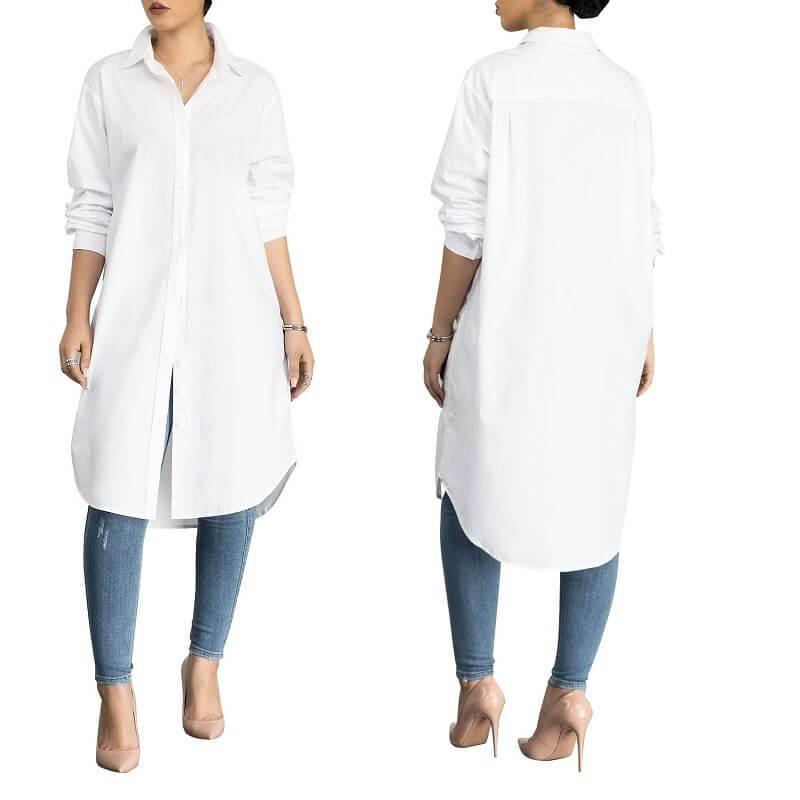 Plus Size White Polo Shirt - white color