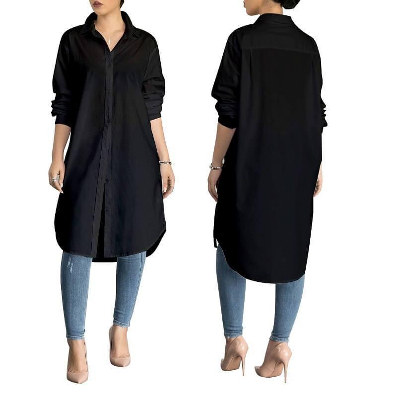Plus Size White Polo Shirt - black color