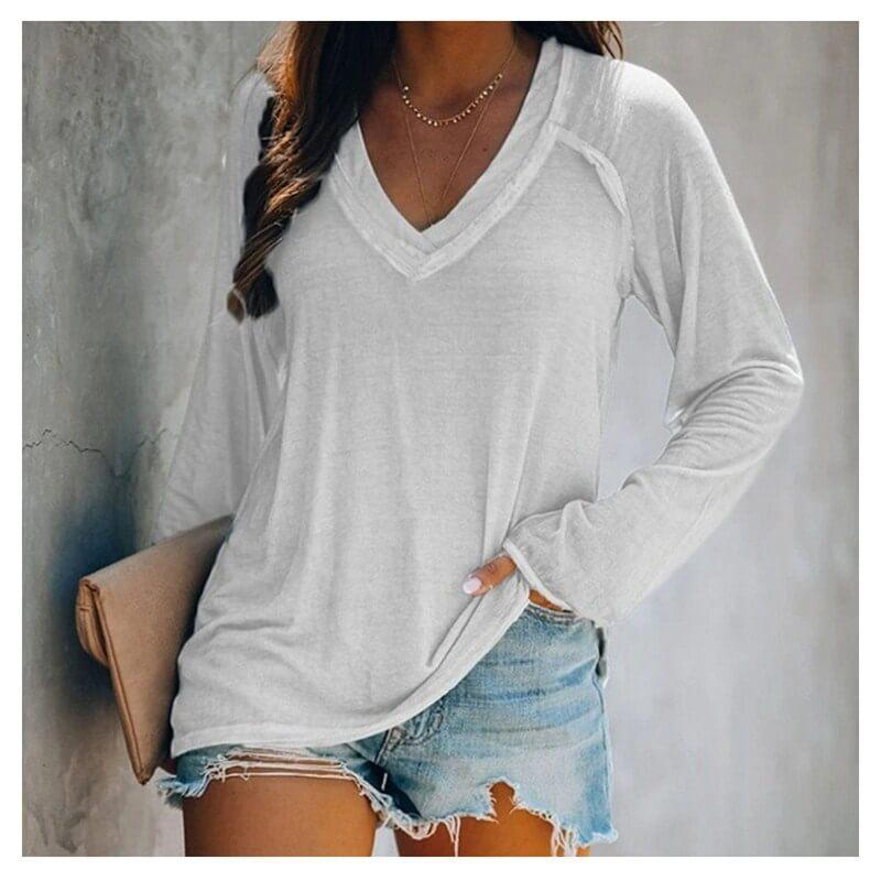 Plus Size White V Neck T Shirt - white color