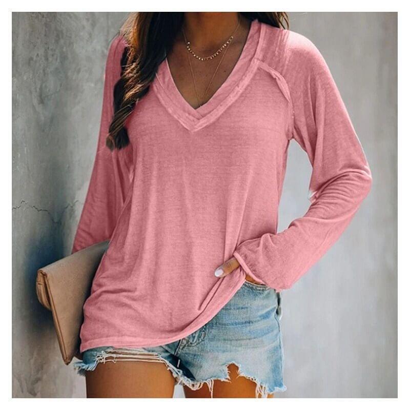 Plus Size White V Neck T Shirt - pink color