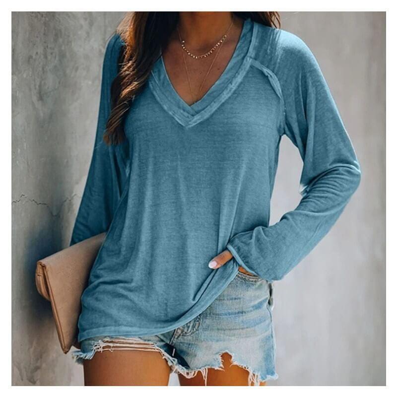Plus Size White V Neck T Shirt - blue color