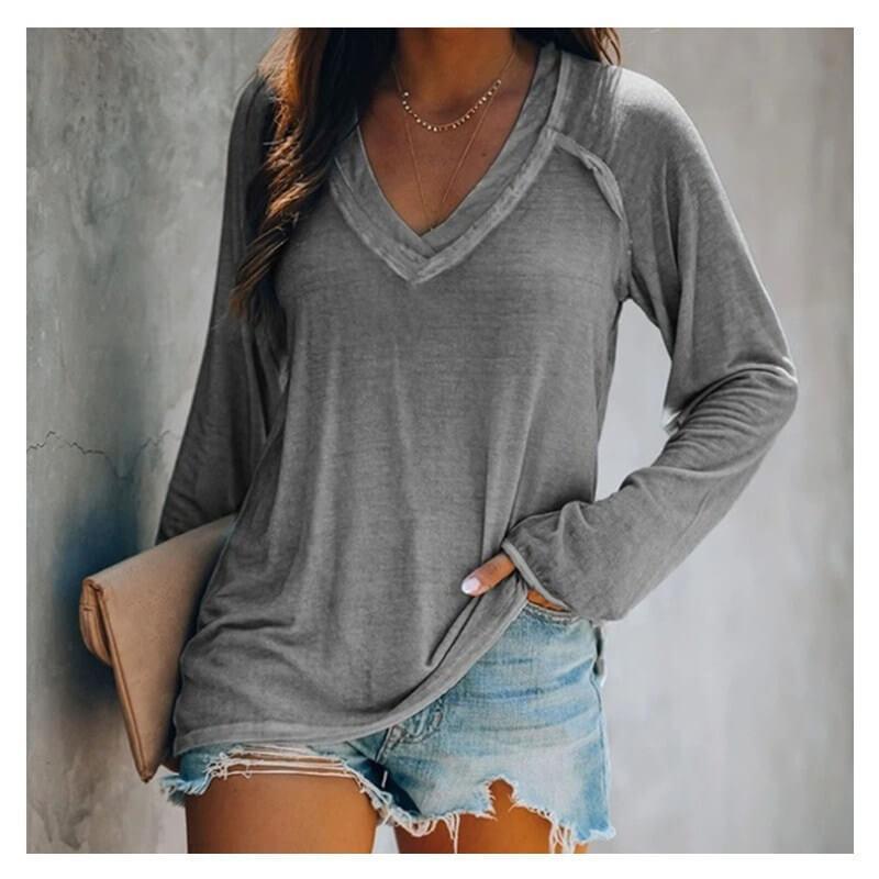 Plus Size White V Neck T Shirt - gray color