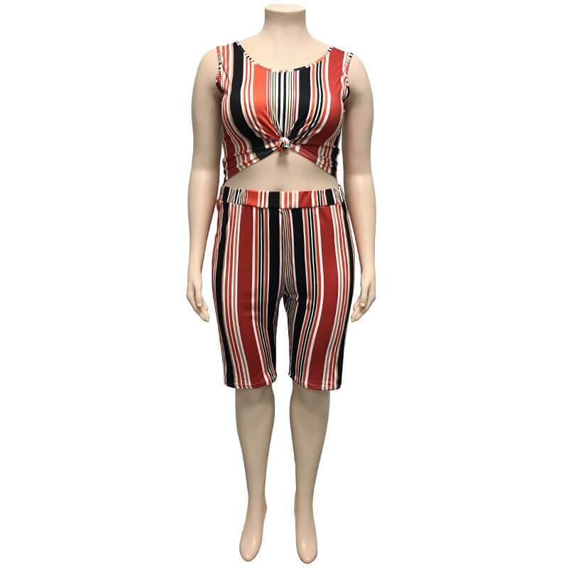 Plus Size Women Yoga Sportswear Sets - red positive
